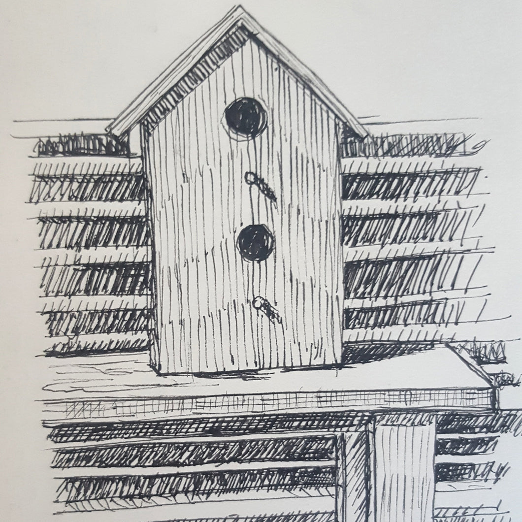 Birdhouse Ink Drawing, 5.5