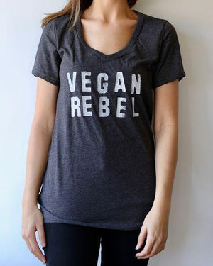 Vegan Rebel Women's V-Neck T-shirt - Gray
