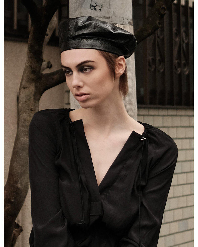 Vegan Patent Leather Beret - Black