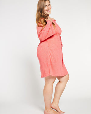 Cold Shoulder Linen Bathing Suit Cover-up in Coral