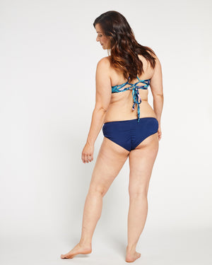 """The TJ"" Ruched Cheeky Bikini Bottom in Ocean Navy"