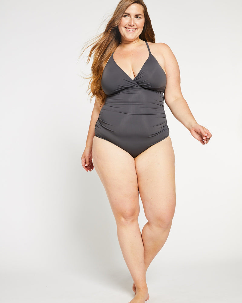 """The Tina"" Ruched Lace-up Back One Piece Swimsuit in Stone Grey"