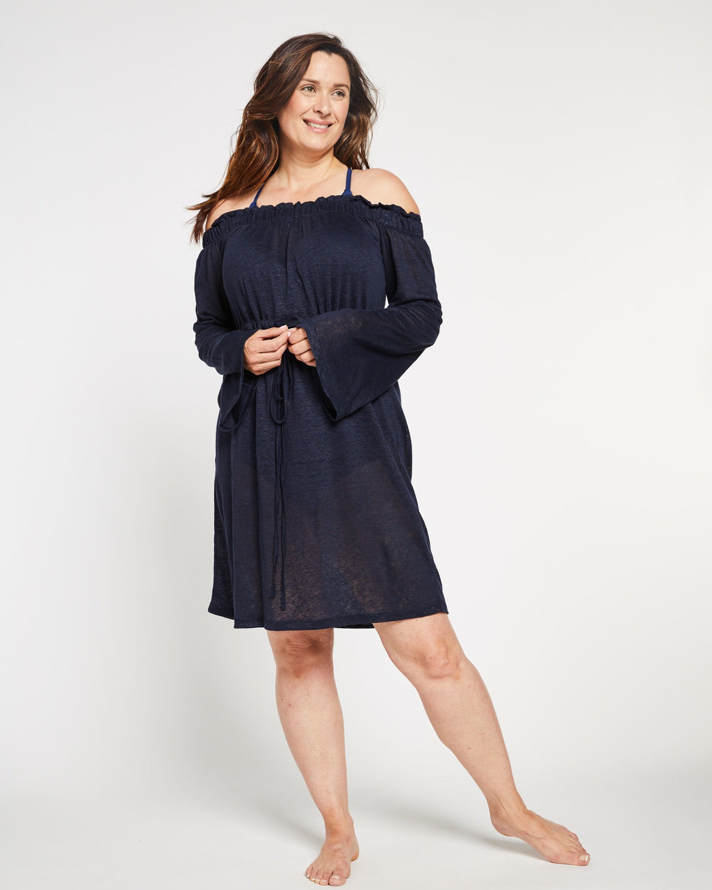 Cold Shoulder Linen Bathing Suit Cover-up in Navy