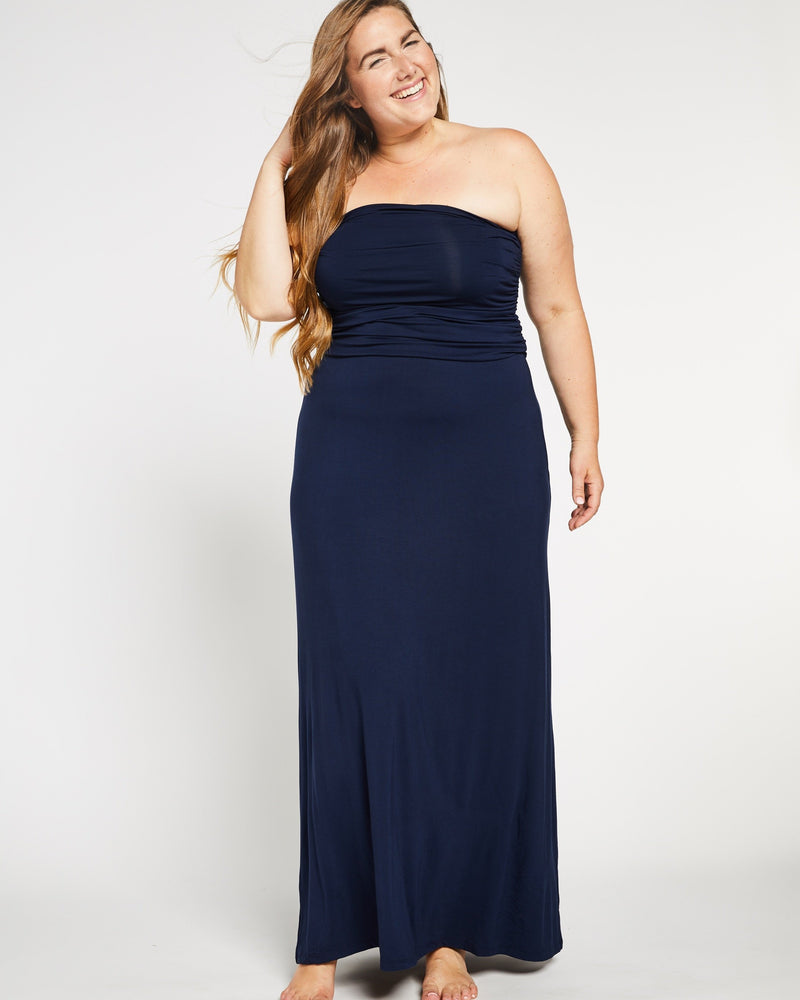Bamboo Convertible Maxi Dress in Navy