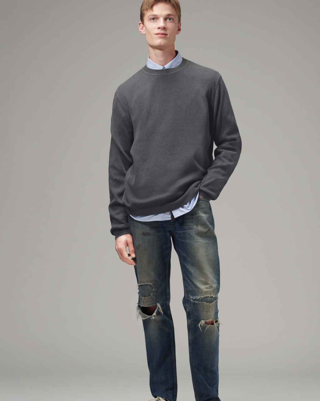 Men's Knit Crewneck Sweater - Dark Grey