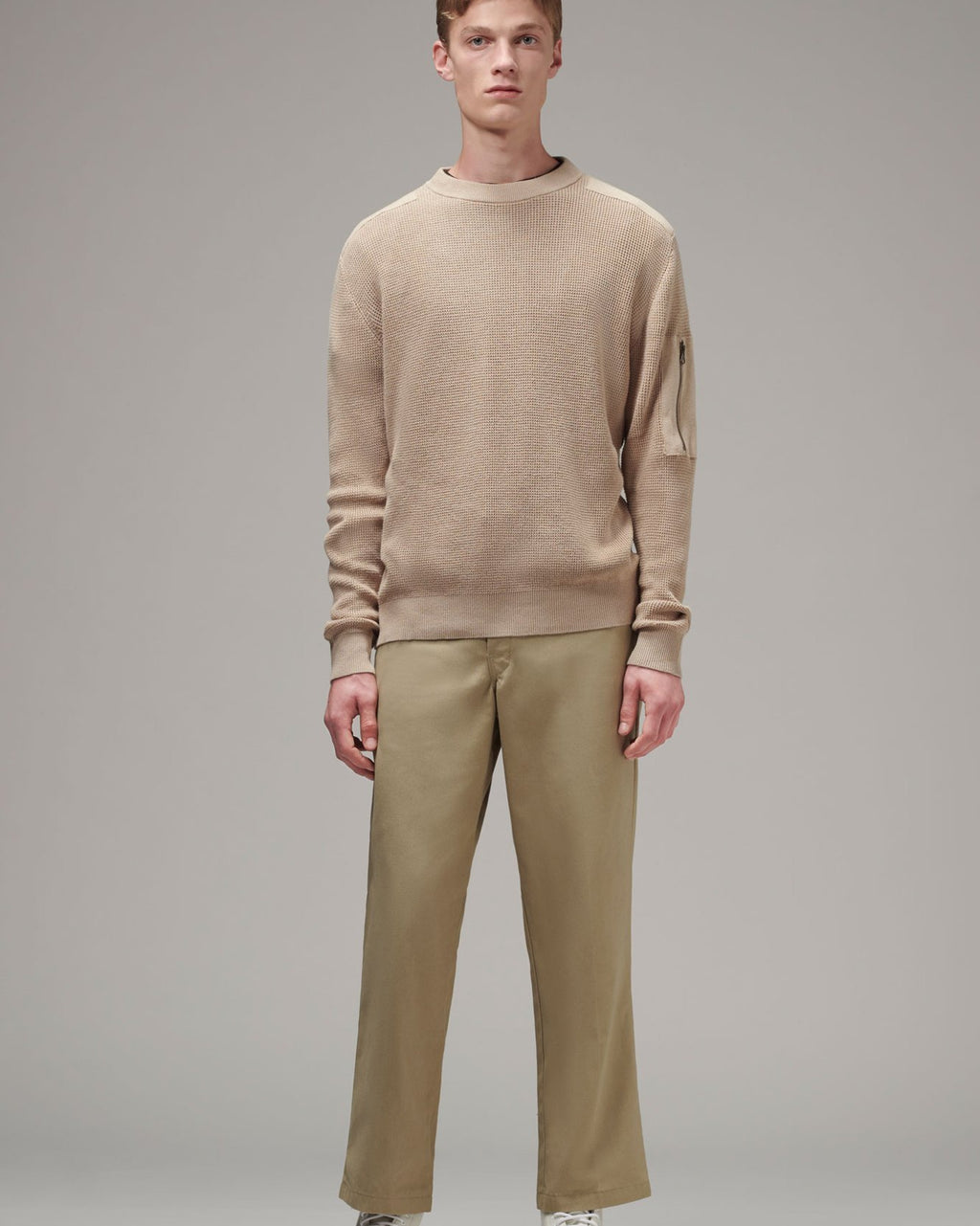 Men's Patch Sweater - Beige