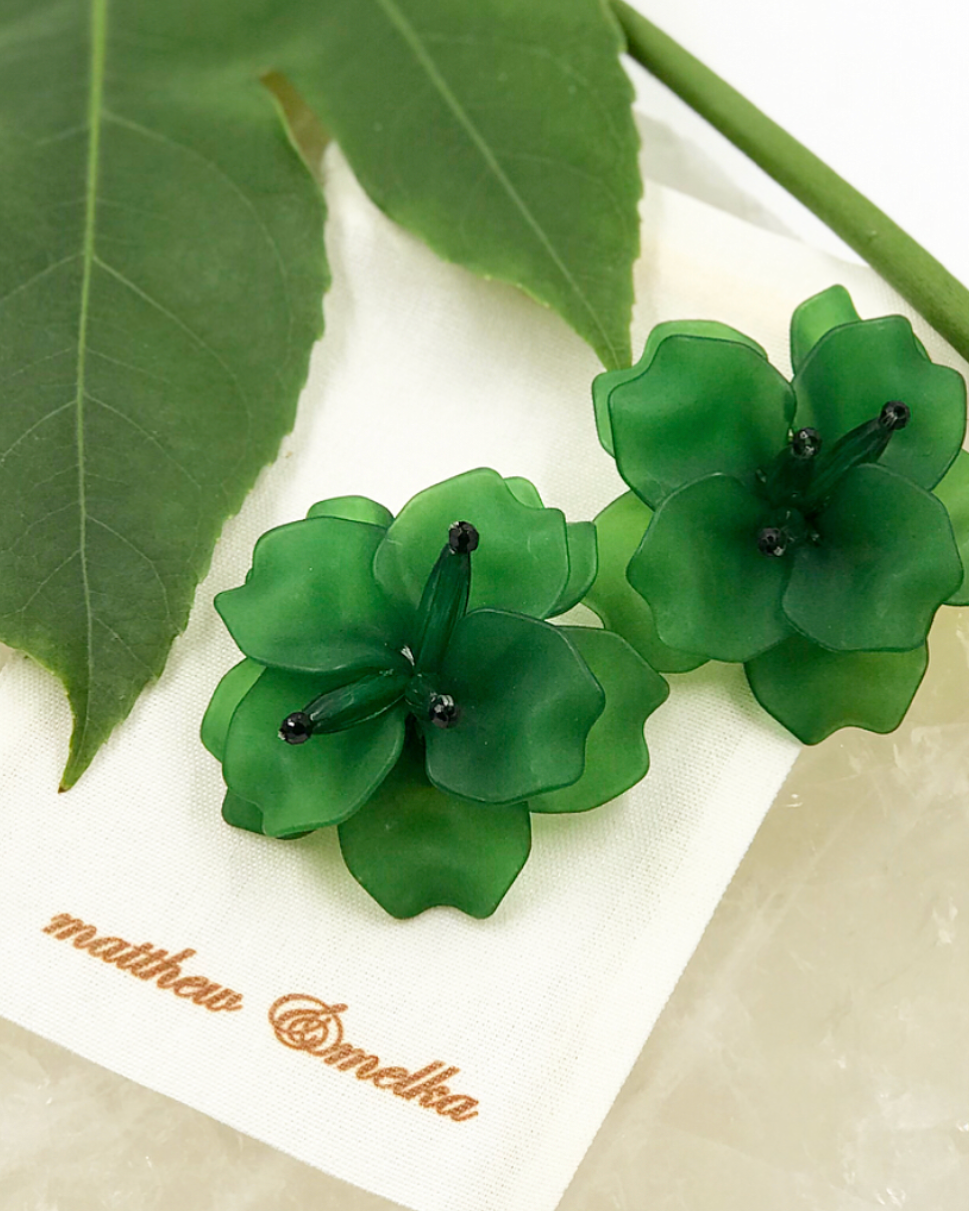 Fleur Earrings - Green
