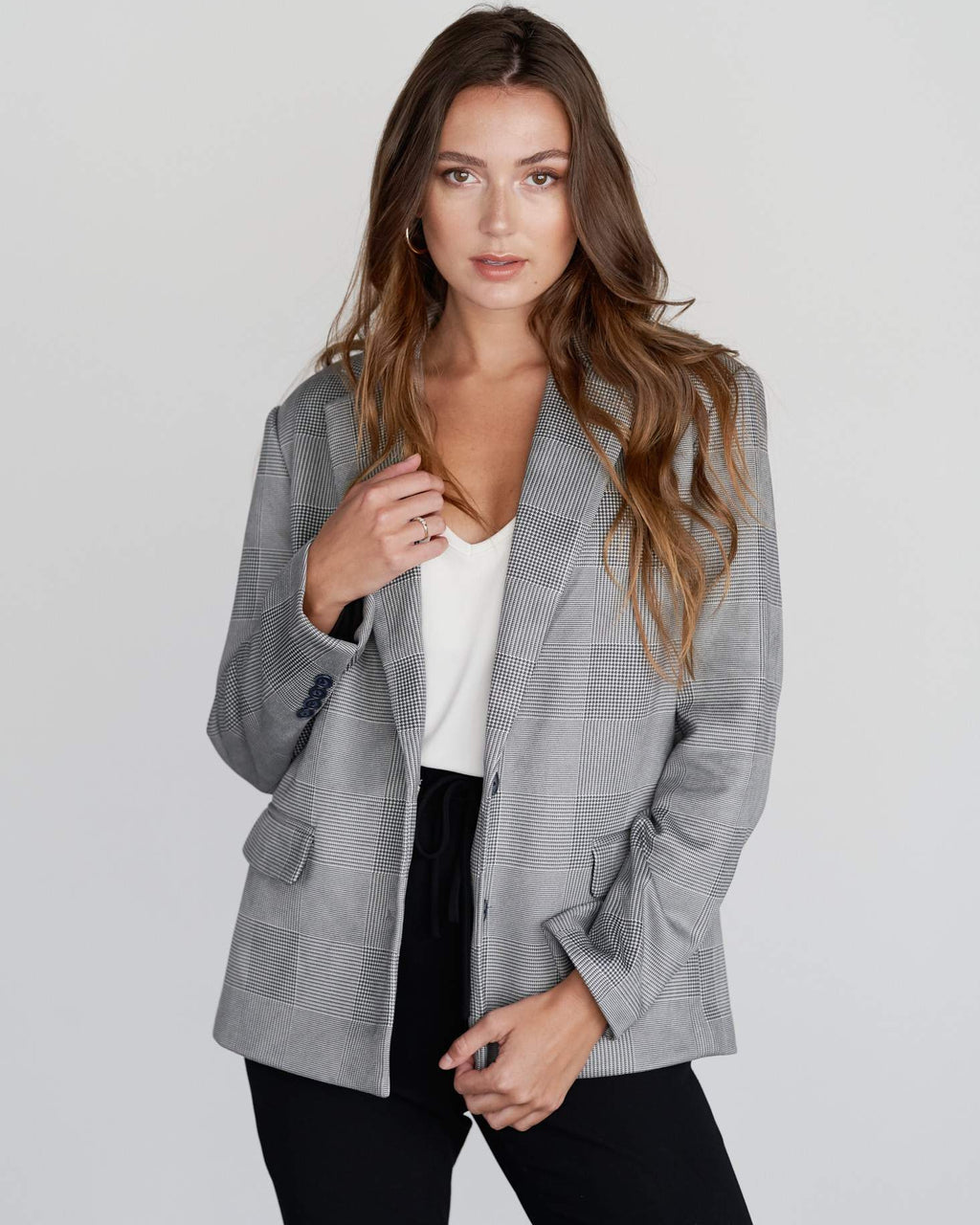 Sierra Boyfriend Blazer - Grey Plaid