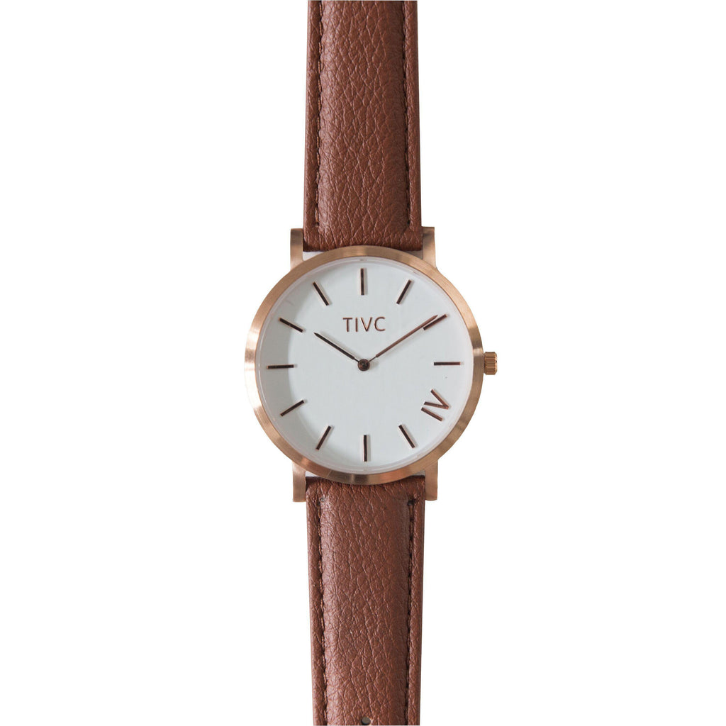 Rose Gold | Tan Stitched Band
