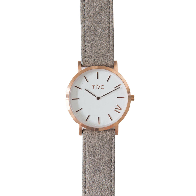 Rose Gold | Grey Suede Stitched Band