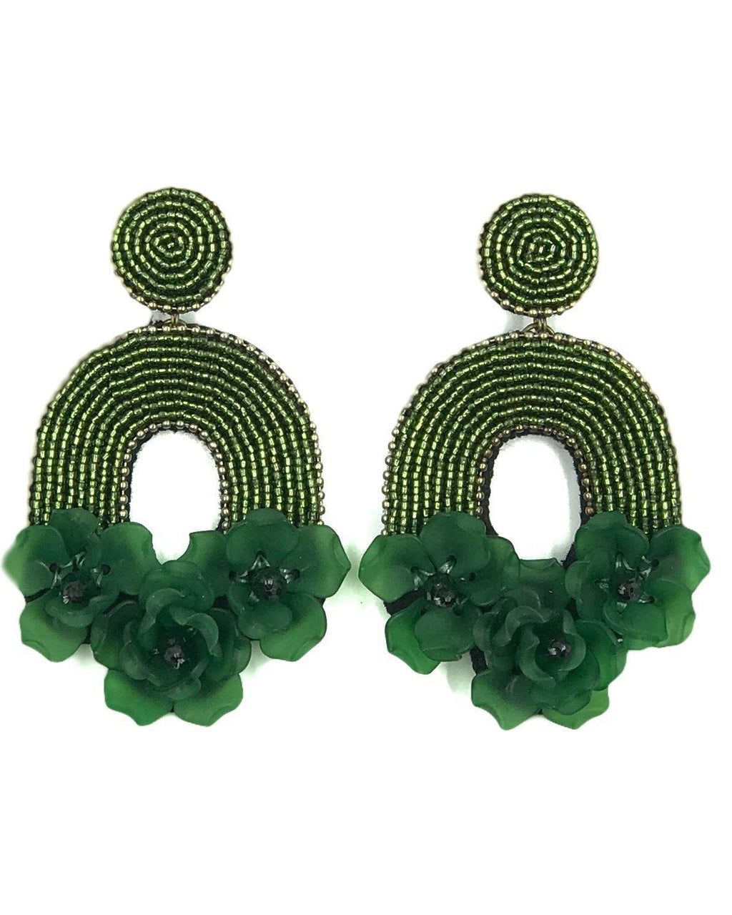 Flora Belle Earrings - Emerald Green