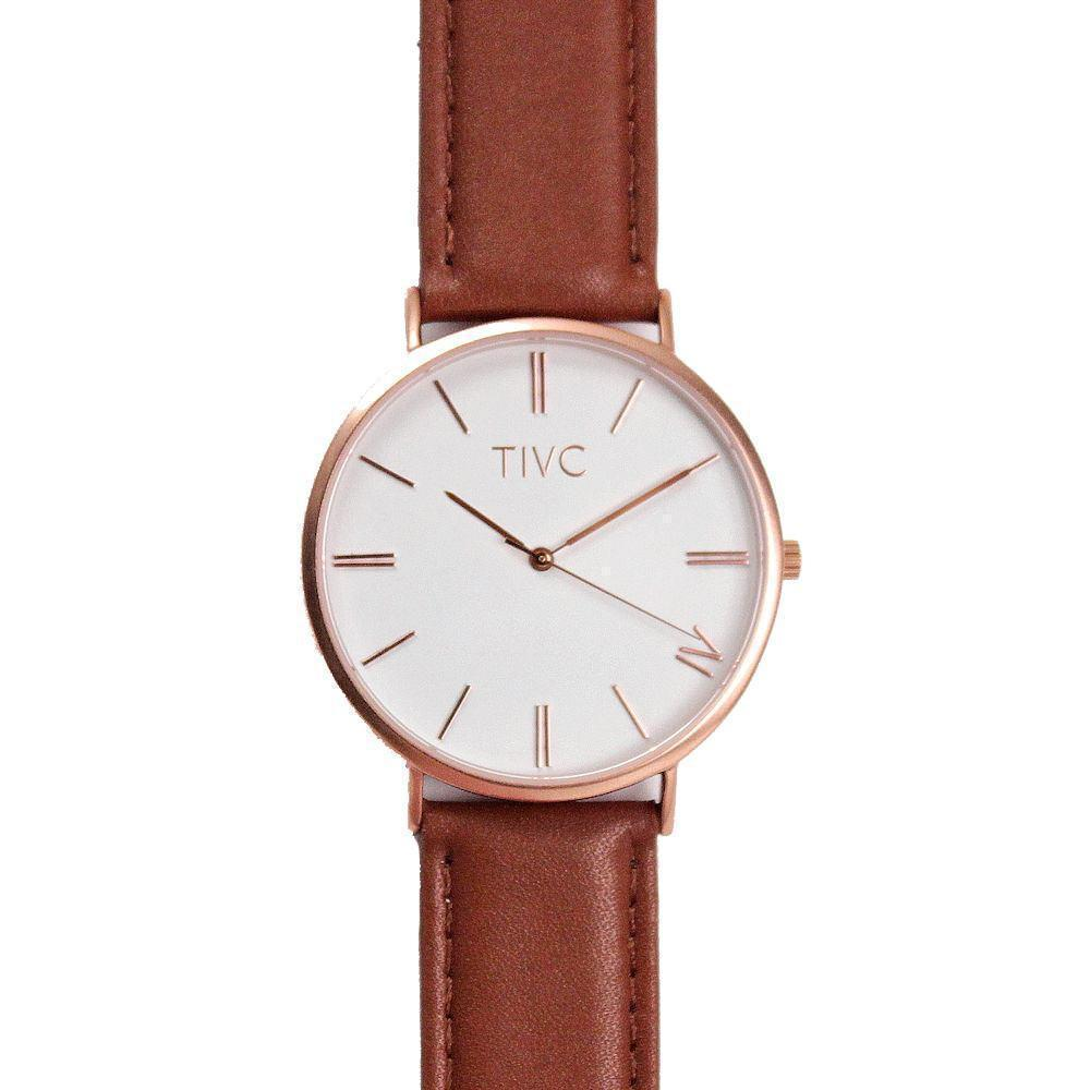 36mm Rose Gold | Tan Stitched Band