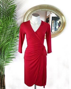 Red Shirred Wrap Dress