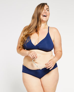 """The Charlotte"" Retro Halter Style Bikini Top in Ocean Navy"