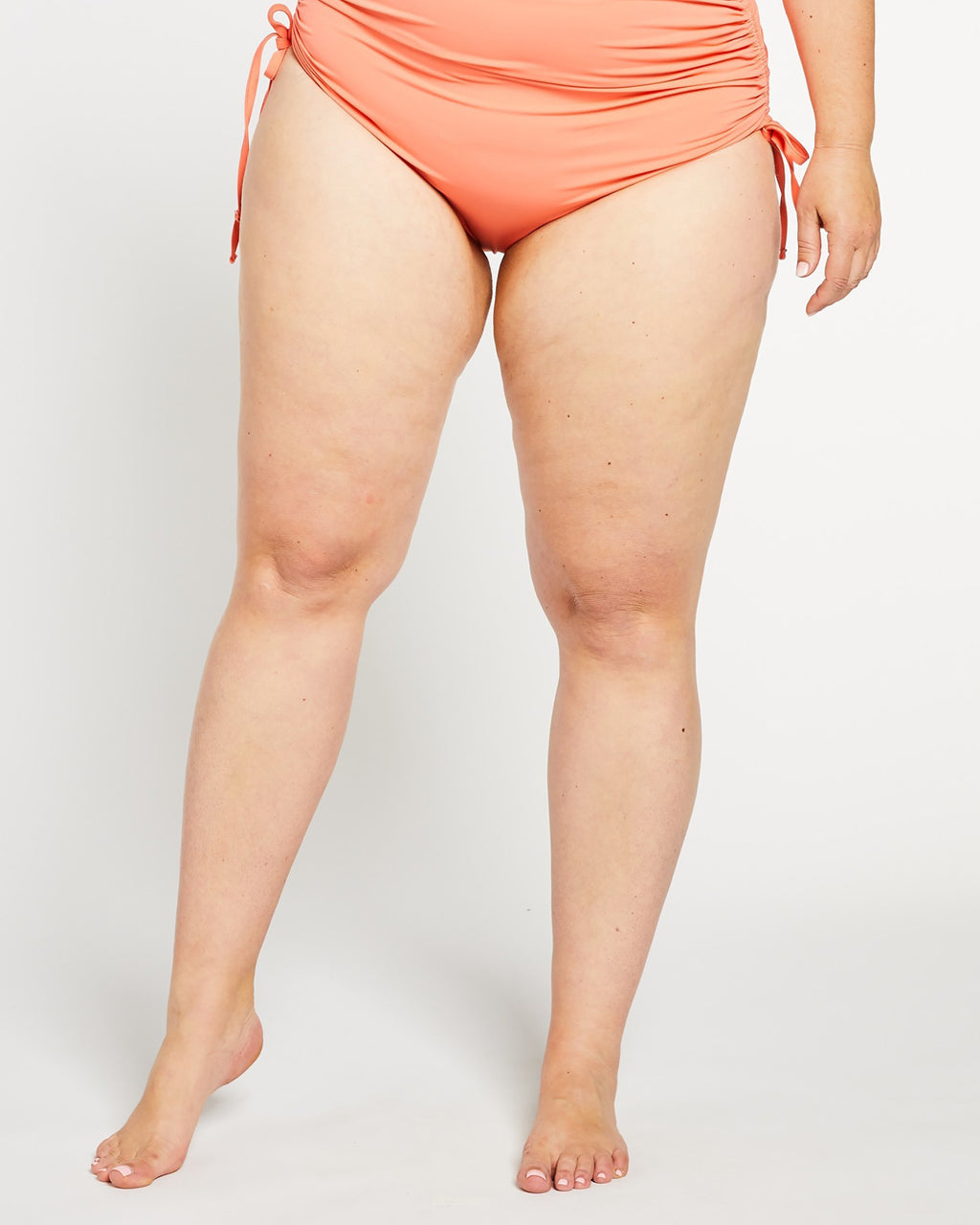 """The Sidney"" Ruched High Waist Bikini Bottom in Coral"