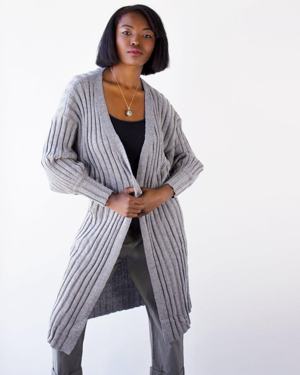 INCENSE  LONG CARDIGAN- GRAY