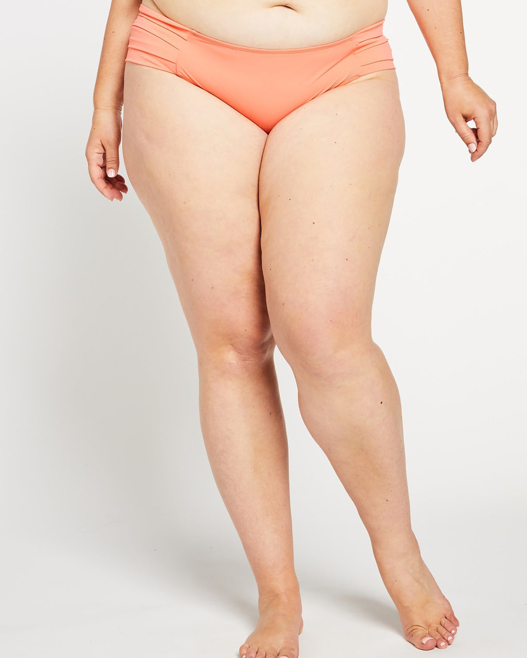 """The Sarah"" Pleated Bikini Bottom in Coral"