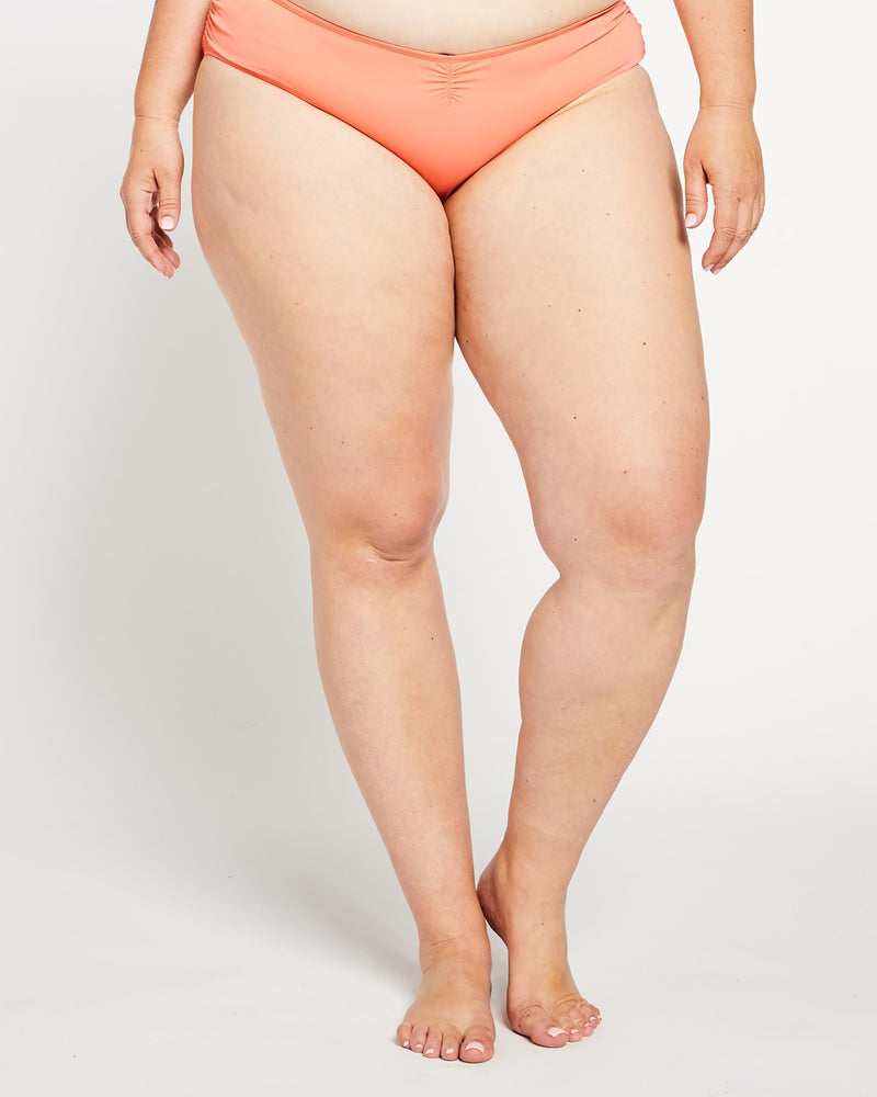 """The TJ"" Ruched Cheeky Bikini Bottom in Coral"