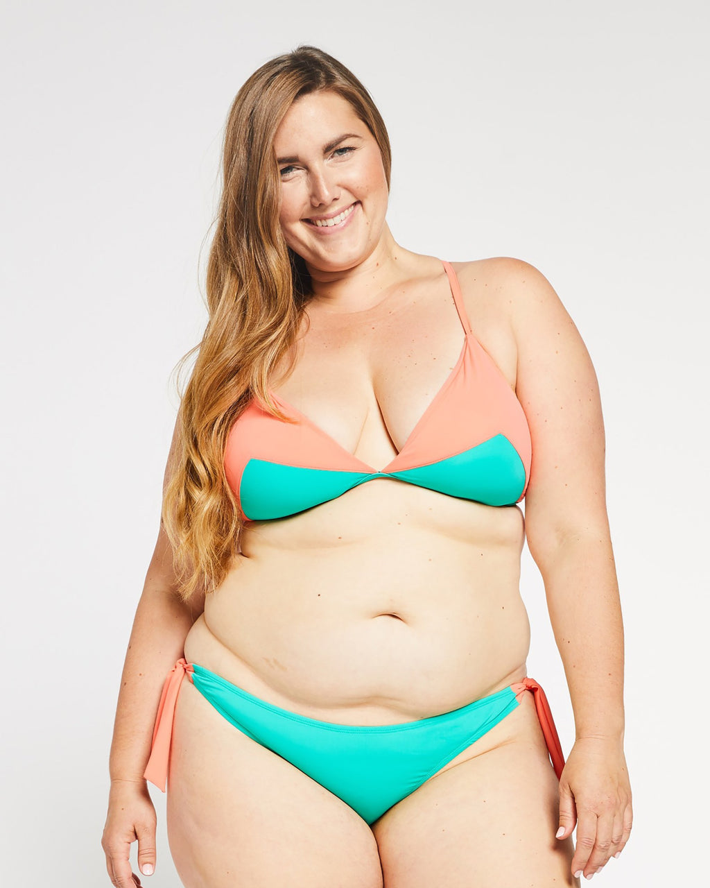 """The Trish"" Triangle Bikini Top in Coral/Aqua"