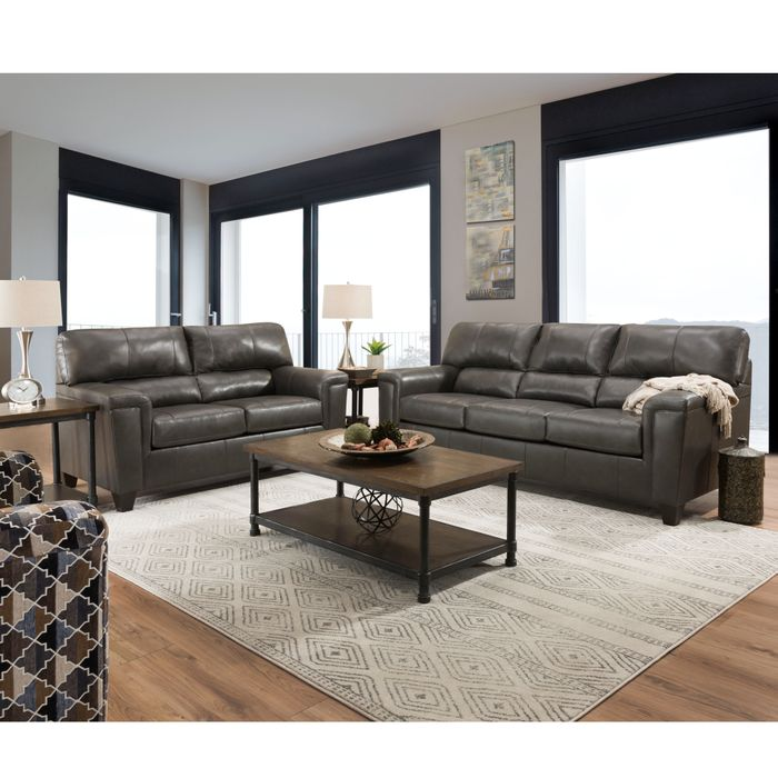 Terrific Lane Dark Fog Leather Sofa Loveseat Combo Inzonedesignstudio Interior Chair Design Inzonedesignstudiocom