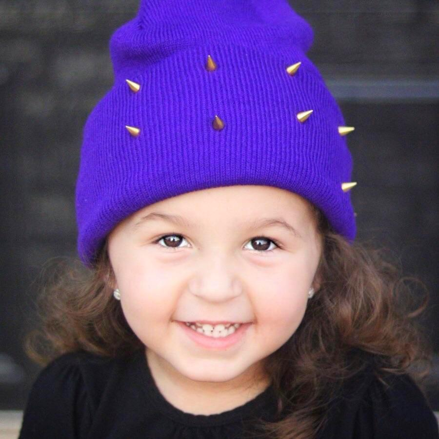 Punkin' Purple Spiked Beanie