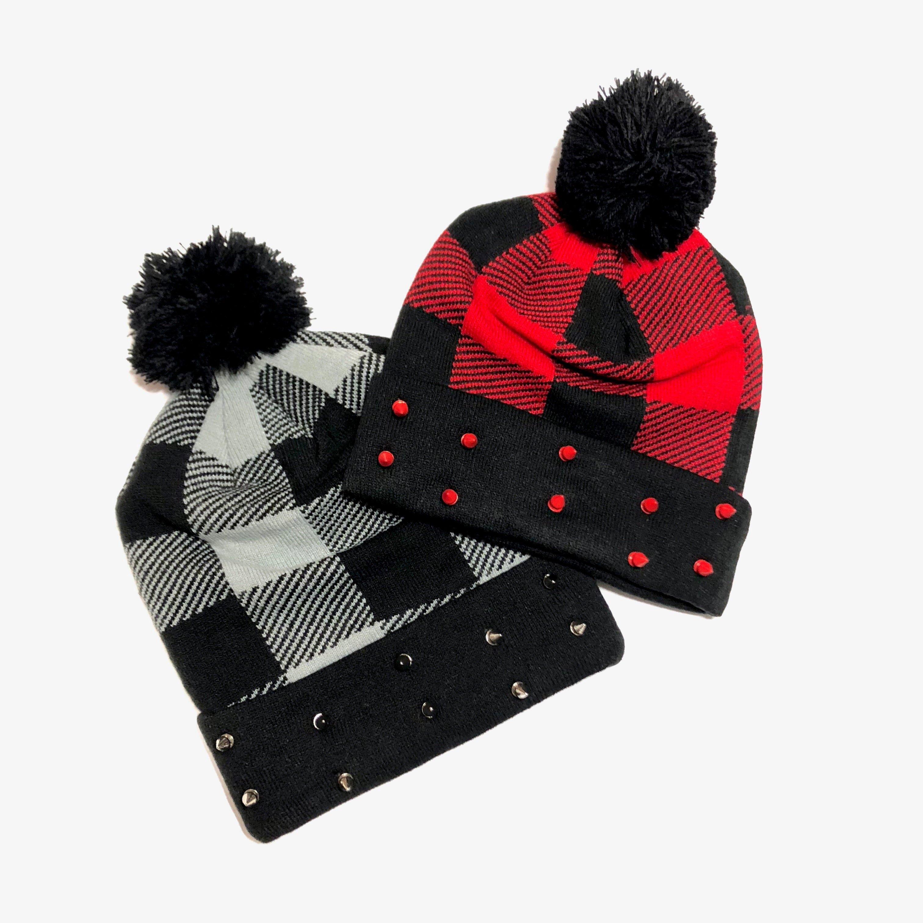 Plaid Pom Spiked Beanies