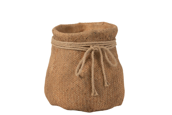 Cache Pot Sac Corde Ciment Naturel Flowerpot Cement Natural