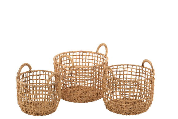 Set De 3 Panier Rond Ouvert Jacynthe D'eau Naturel Baskets Round Water Hyacinth Natural