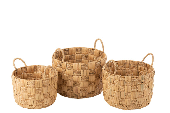 Set De 3 Panier Rond Jacynthe D'eau Naturel Baskets Round Water Hyacinth Natural