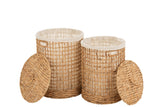 Set De 2 Panier + Couvercle Cire Jacynthe D'eau Naturel Baskets+Lid Water Hyacinth Natural
