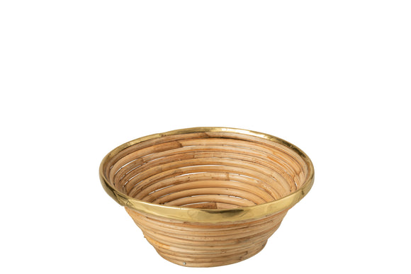 Panier Or Bord Rotin Naturel Basket Gold Border Rattan Natural
