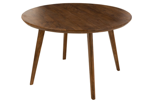 Table A Manger Vince Ronde Bois De Manguier Marron Round Mango Wood Brown