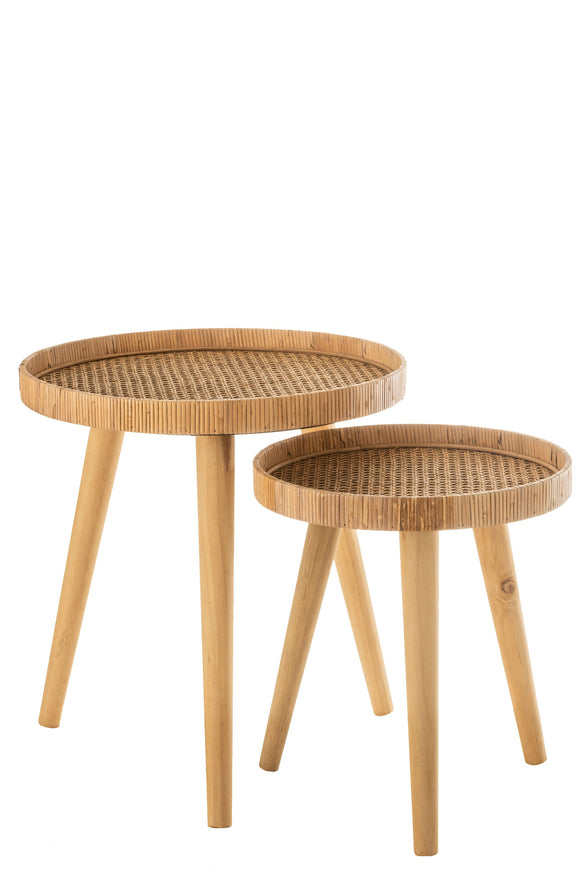 Set De 2 Table Gigogne Ronde Trepied Rotin Naturel Sidetables Round Tripod Rattan Natural