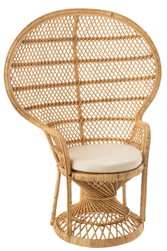 Chaise Paon + Coussin Rotin Naturel Chair Peacock With Cushion Rattan Natural