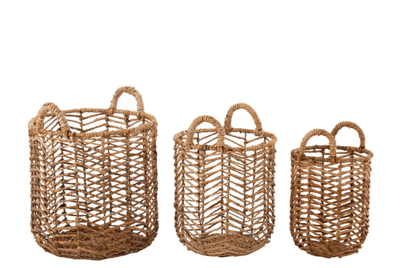 Set De 3 Panier Feuilles De Bananier Naturel Baskets Bananas Leaves Natural