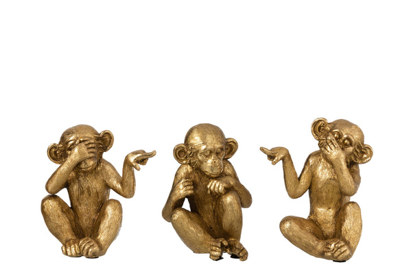 Singe Entendre/Voir/Se Taire Resine Or Set De 3 Ape See/Hear/Speak No Evil Gold