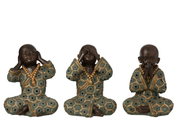 Moine Entendre/Voir/Se Taire Resine Vert/Or Objet Assortiment De 3 Monk See/Hear/Speak No Evil
