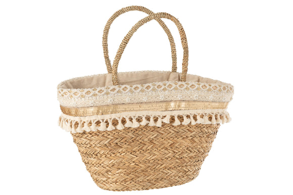 Sac De Plage Floches Perles Ecru Rotin Naturel Sac Panier Beach Bag Tassels