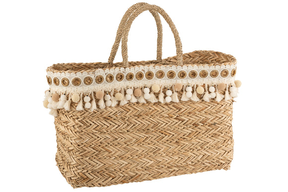 Sac De Plage Floches Ecru Rotin Naturel Beach Bag Tassels Reed Natural