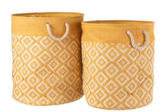 Set De 2 Panier Papier Coton Naturel Baskets Paper Cotton