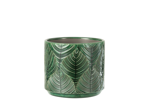 Cachepot Tropical Ceramique Vert Flowerpot Ceramic Green Ocre