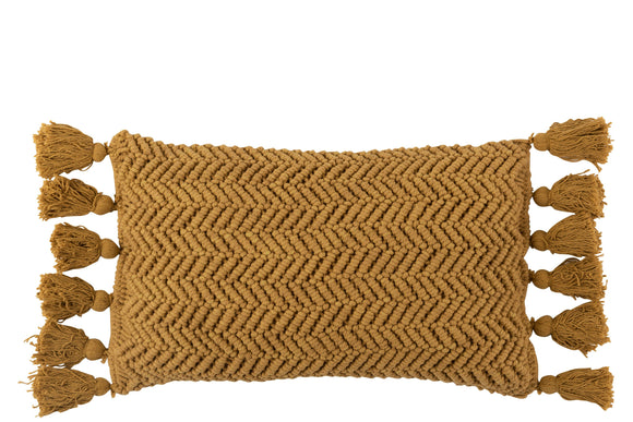 Coussin Motifs Polyester/Coton Ocre Cushion Cotton