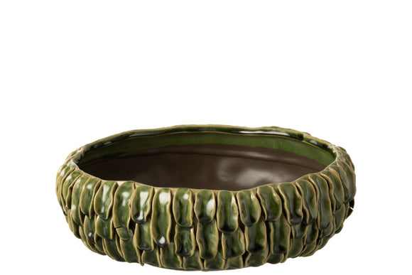 Vase Tropical Ceramique Plat Vert Pot Dish Tropical Ceramic Green
