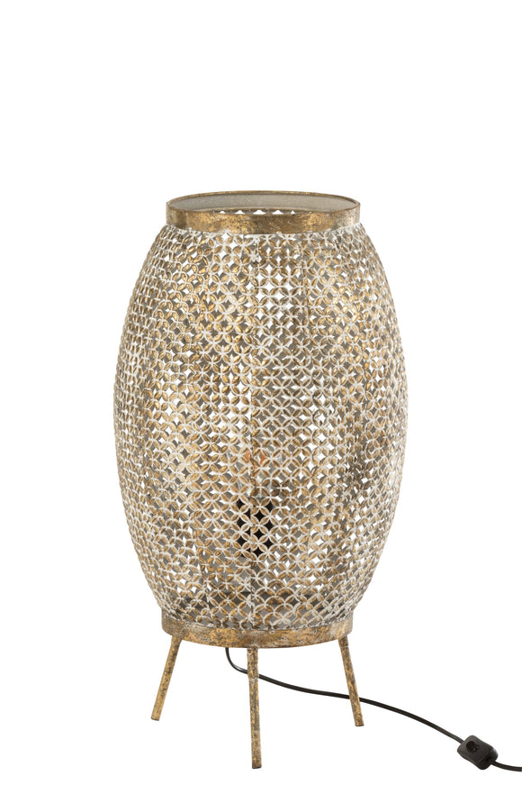Lampe Sur Pied Ajouree Fleur Metal Or Lamp Holes Flower Gold