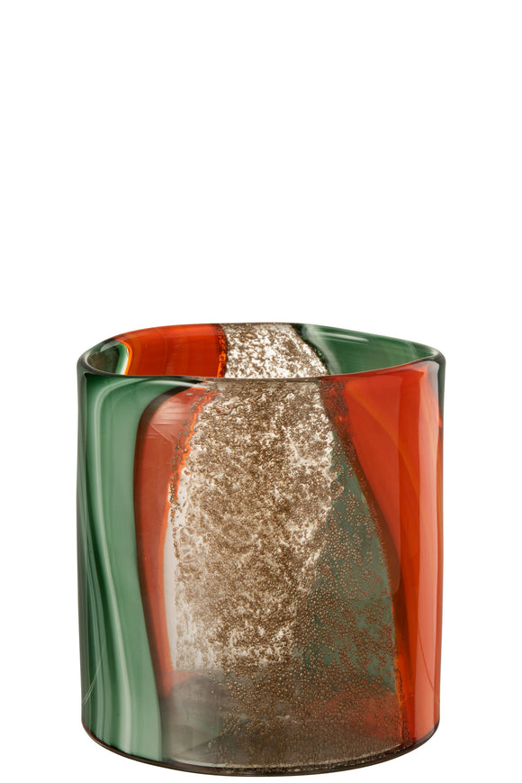 Vase Lignes Verre Vert Orange Glass Green
