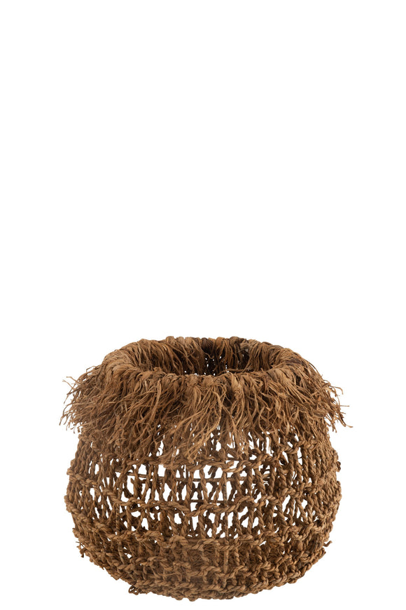 Panier Tressé Rond Feuillles De Bananier Naturel Basket Plaited Round Banana Leaves Natural