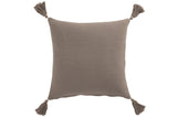 Coussin Carre Coton Blanc Taupe Cushion Square Cotton