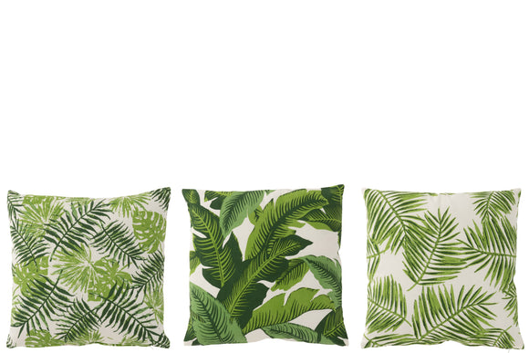 Coussin Tropical Carre Coton Blanc/Vert Assortiment De 3 Cushion Square Cotton Green