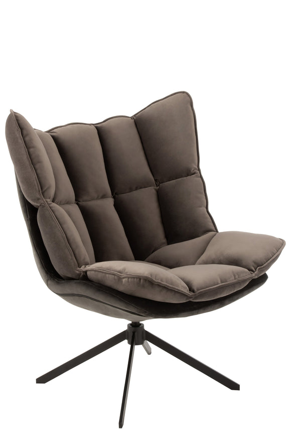 Chaise Relax Coussin Sur Pied Textile/Metal Chair Brown Grey