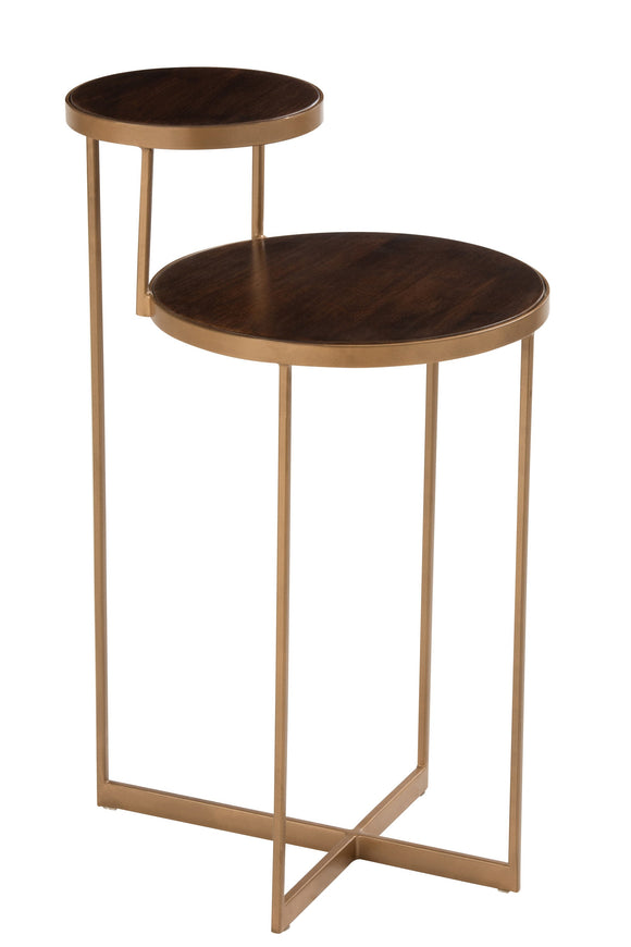 Table Gigogne Rafi 2niveau Fer/Bois De Manguier Or/Brun Fonce Iron/Mango Wood Gold Brown